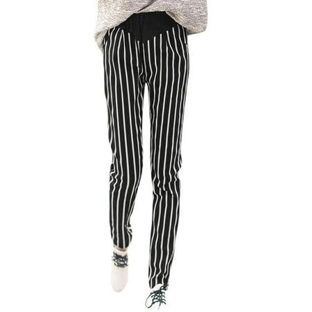Womens Elastic Waist Vertical Stripes Slant Pockets Casual Pants Black White  Size M   8