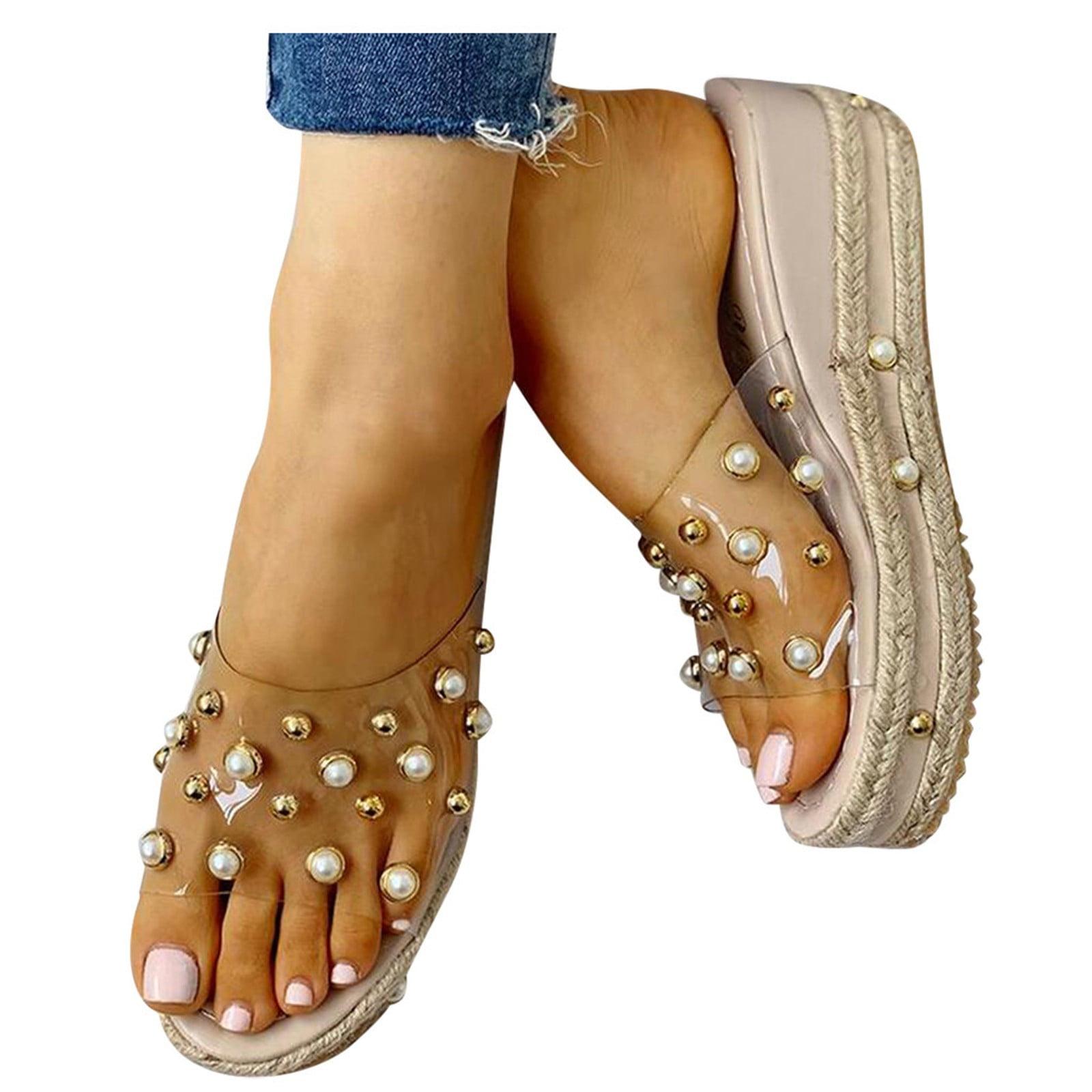 Details about  /Women/'s Transparent Sandals Platform High Heels Open Toe Casual Shoes Slip On