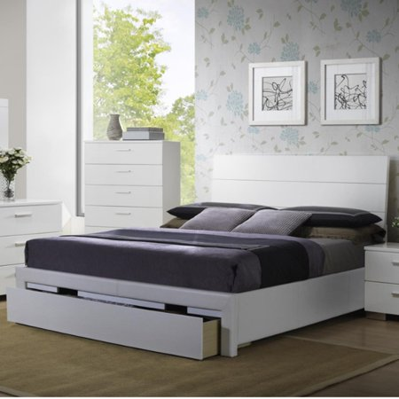 swanky wooden queen bed with side rail and storage. Black Bedroom Furniture Sets. Home Design Ideas
