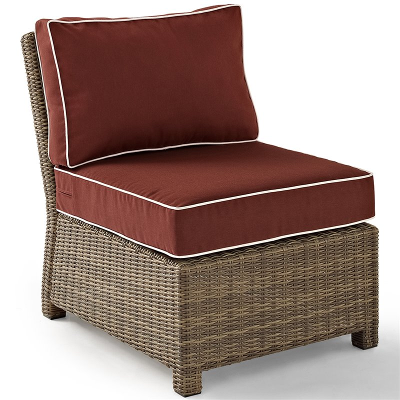 Crosley Furniture Bradenton Outdoor Wicker Sectional Center Chair with Sangria Cushions