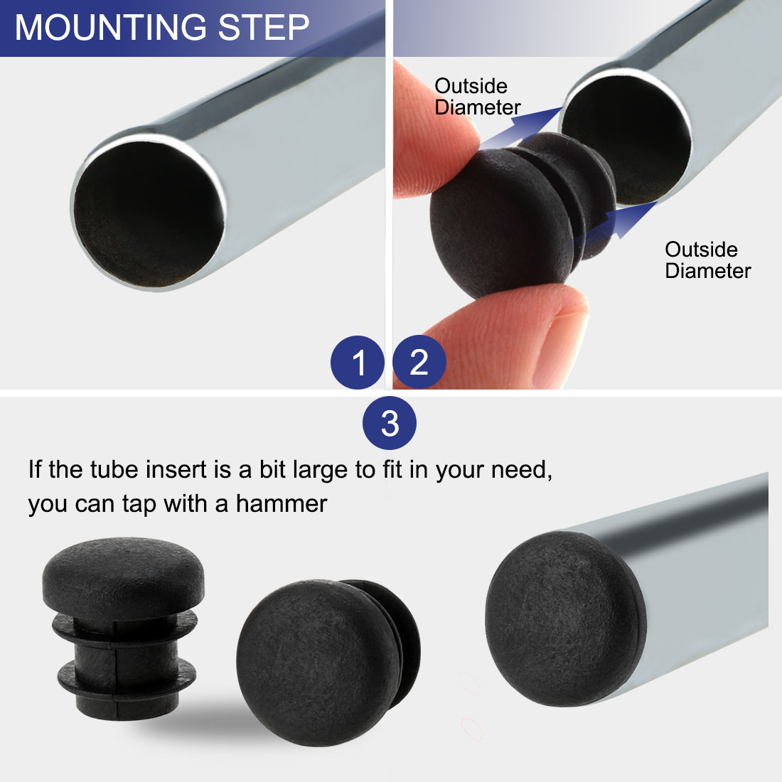 """5/8"""" 16mm OD Round Tube Inserts Table Protector 30pcs, 0.47""""-0.55"""" Inner Dia - image 2 of 7"""