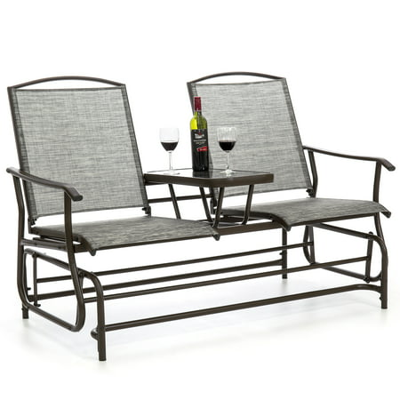 Best Choice Products 2-Person Outdoor Mesh Fabric Patio Double Glider w/ Tempered Glass Attached Table - Gray