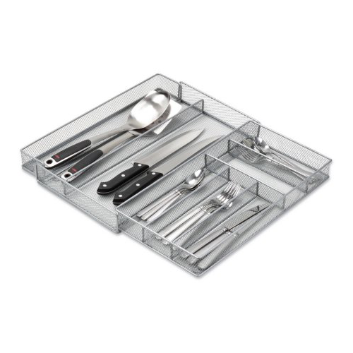 Honey Can Do Expandable Steel Mesh Cutlery Tray, Silver