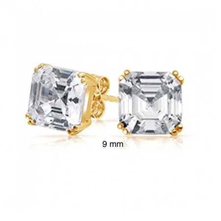 Cubic Zirconia Solitaire Square Asscher Cut AAA CZ Stud Earrings For Women 14K Gold Plate 925 Sterling Silver More Sizes ()
