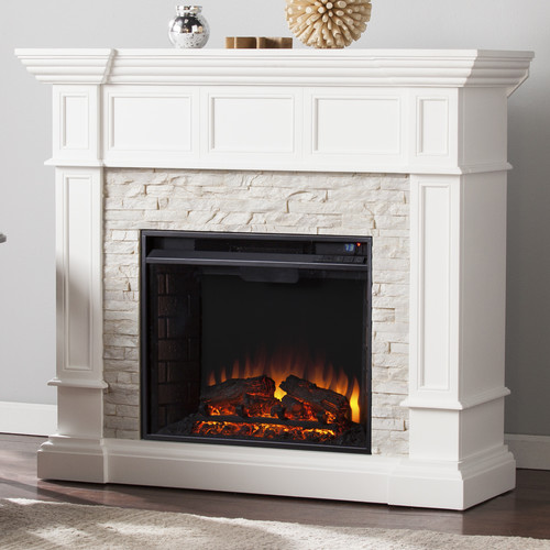 Wildon Home Frazier Faux Stone Corner Convertible Electric