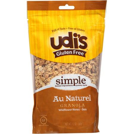 Udi's Au Naturel Gluten Free Granola, Wildflower Honey Oats, 12 Oz