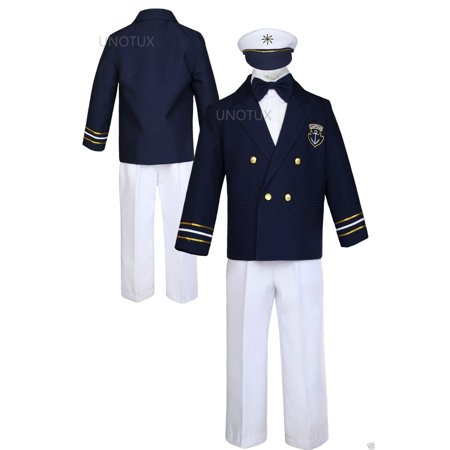 Infant Toddler Boy Party Formal Captain Nautica Sailor Suit Hat Outfits Navy 1-7](Party Boy Outfit)