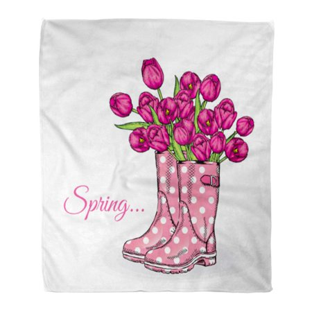 SIDONKU 58x80 inch Super Soft Throw Blanket Bouquet of Tulips in Beautiful Polka Dot Rubber Boots Spring Flowers Home Decorative Flannel Velvet Plush Blanket