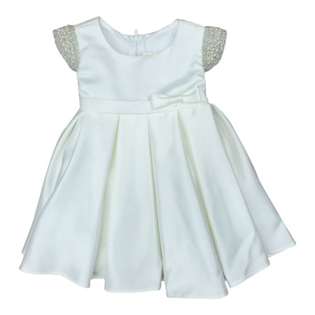 Baby Girls Ivory Dull Satin Beaded Flower Girl Dress 6-24M (Dresses For Women With Boots)