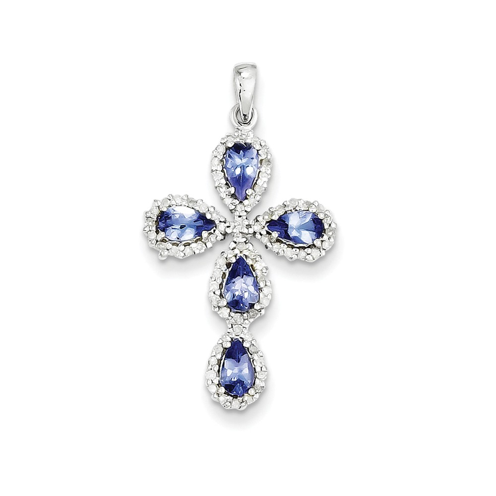ICE CARATS 14kt White Gold Diamond Blue Tanzanite Cross Religious Pendant Charm Necklace Fancy Fine Jewelry Ideal Gifts For Women Gift Set From Heart