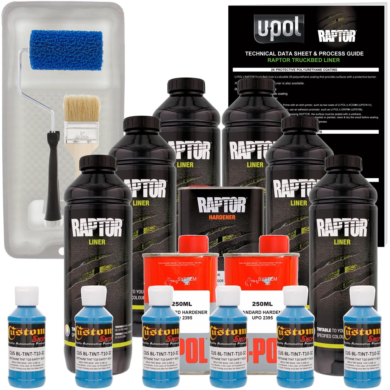 Raptor Safety Blue Urethane Spray-On Truck Bed Liner Roller,Tray,Brush,6 Liters