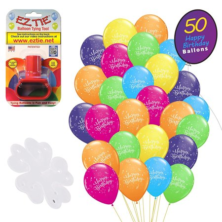 QP Latex Happy Birthday Balloons, 50 Pack. w/ Balloon Tying Tool and Flower Clip Accessory - Party Supplies