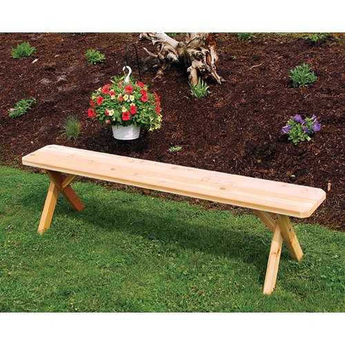 A & L Furniture Western Red Cedar Crossleg Backless Bench