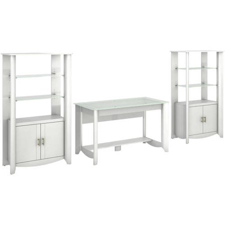 Fusion Library Desk (Bush Furniture Aero Collection Writing Desk & Set of Two 2-Door Tall Library Storage in Pure White Finish )