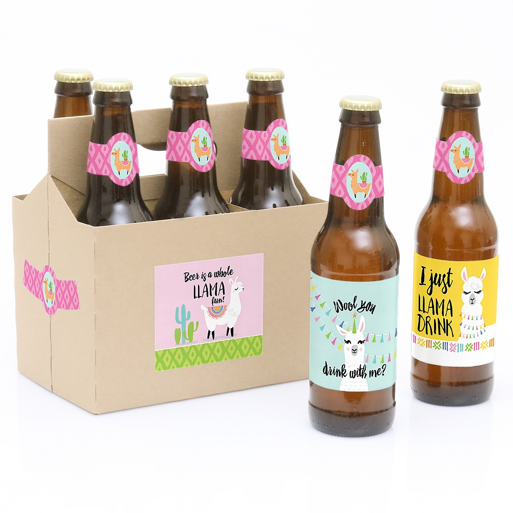 Whole Llama Fun - 6 Llama Fiesta Baby Shower or Birthday Party Beer Bottle Label Stickers and 1 Carrier