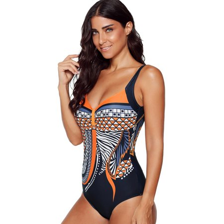 One Piece Bathing Suits for Women Tummy Control Print Bikini Sport Swimsuits