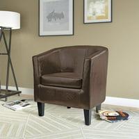 CorLiving Antonio Bonded Leather Tub Chair, Dark Brown