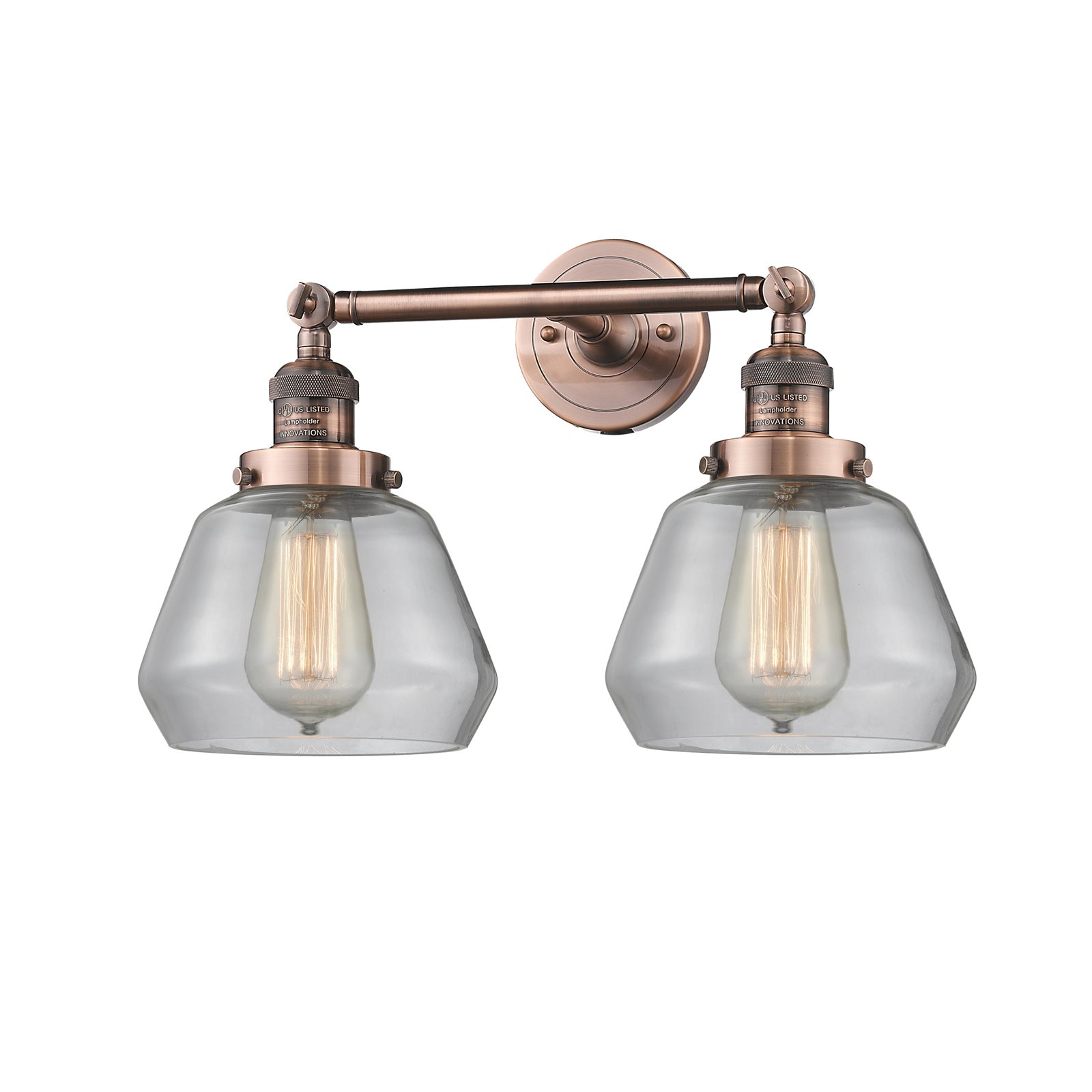 """Innovations 2-LT LED Fulton 16.5"""" Bathroom Fixture Antique Copper 208-AC-G172-LED by"""