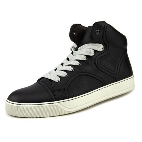 Lanvin Mid-Top Sneaker with Nappa Lambskin Piping Men US 11 Black