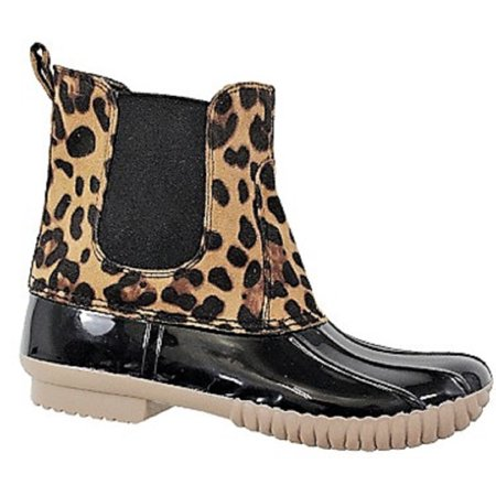 Dylan-81 Women Waterproof Warm Hiking Snow Rain Winter Ankle Stetch Pull On Boot Leopard