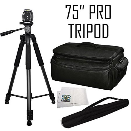 Professional 75-inch Tripod 3-way Panhead Tilt Motion with Built In Bubble Leveler + Rugged Series Water Resistant, Adjustable Shoulder Strap, Heavy Duty, Shock Proof Pro Camcorder Carrying Case for t ()