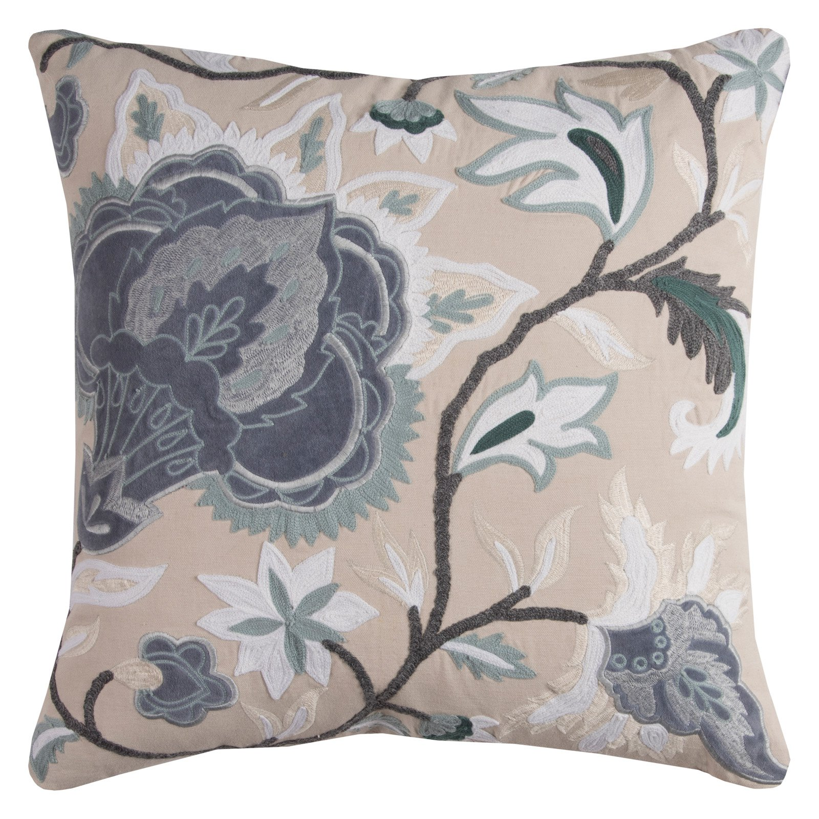 """Rizzy Home Decorative Poly Filled Throw Pillow Floral 20""""X20"""" Blue"""