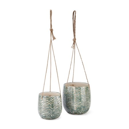 Imax Set Of 2 Kaveri Hanging Ceramic Planters Z26406-2 ()