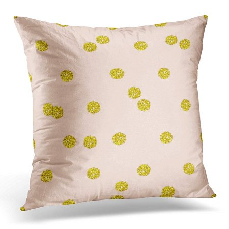 ARHOME White Trendy Gold Glitter Polka Dot Great with Golden Middle Size on Solid Pastel Pink in Interior Yellow Pillow Case Pillow Cover 20x20 inch