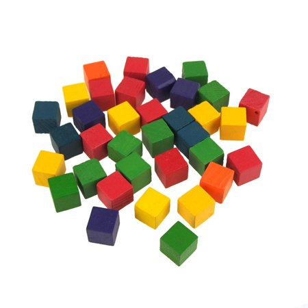 Multi-Colored Wooden Cube Blocks, 5/8-Inch, 35-Piece