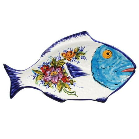 Hand-painted Traditional Portuguese Ceramic Fish Shape Platter #900 Dinner Fish Platter