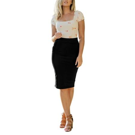 Womens High Waist Bodycon Fitted Midi Knee Pencil Skirt