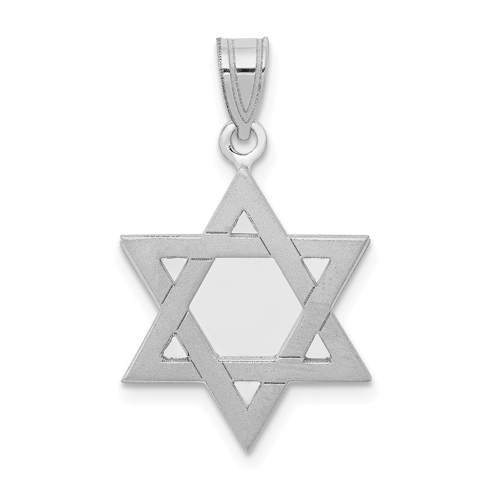 14k White Gold Engravable Star of David Charm (1in long x 0.6in wide)