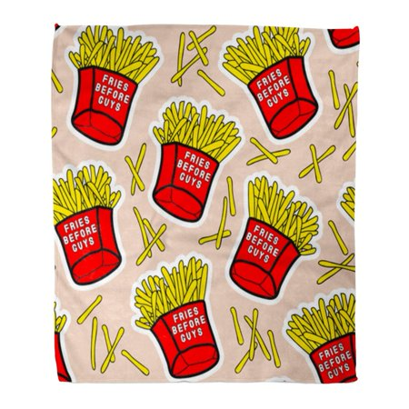 HATIART Throw Blanket 58x80 Inches French Fries Red Boxes of Fried Potatos Before Guys Text Fastfood Takeaway Warm Flannel Soft Blanket for Couch Sofa Bed - image 1 de 1