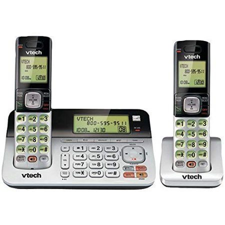 VTech CS6859-2 DECT 6.0 Expandable Digital Cordless Phone with Answering System and Dual Caller ID/Call Waiting, Silver/Black (New Open