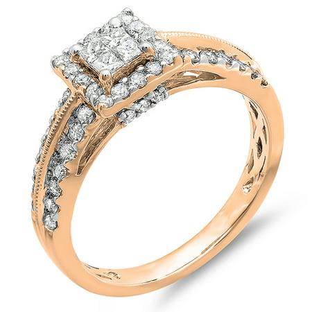 1.00 Carat (ctw) 10K Rose Gold Princess & Round Cut Diamond Ladies Bridal Engagement Ring 1 CT