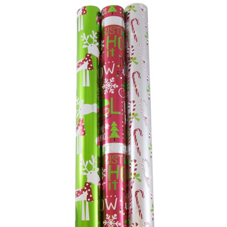 JAM Paper Wrapping Paper, Premium Foil Gift Wrap, 75 Sq Ft, Holiday Jingle Set, 3/Pack