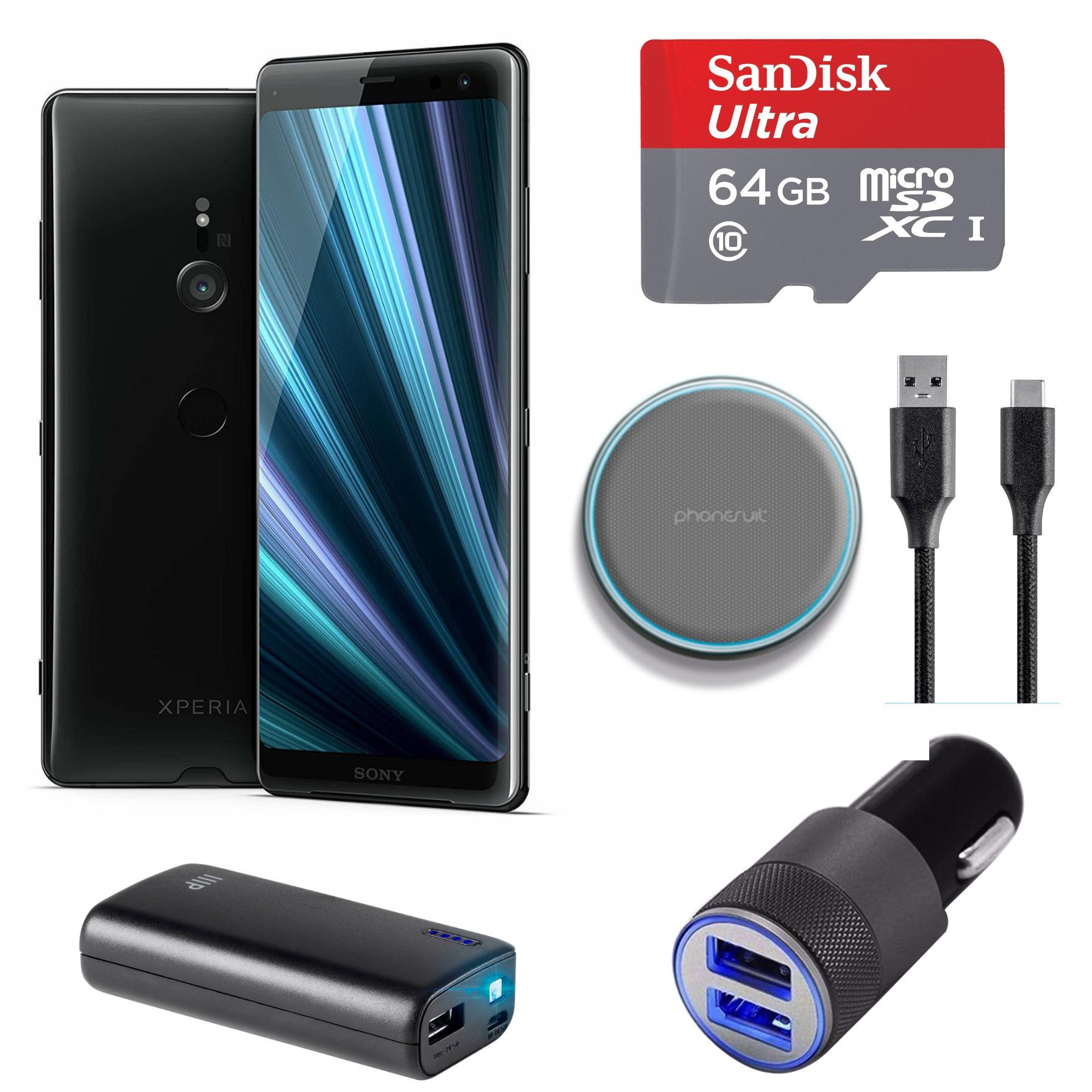 Sony XPERIA XZ3 Unlocked Smartphone (Black) Charging Bundle