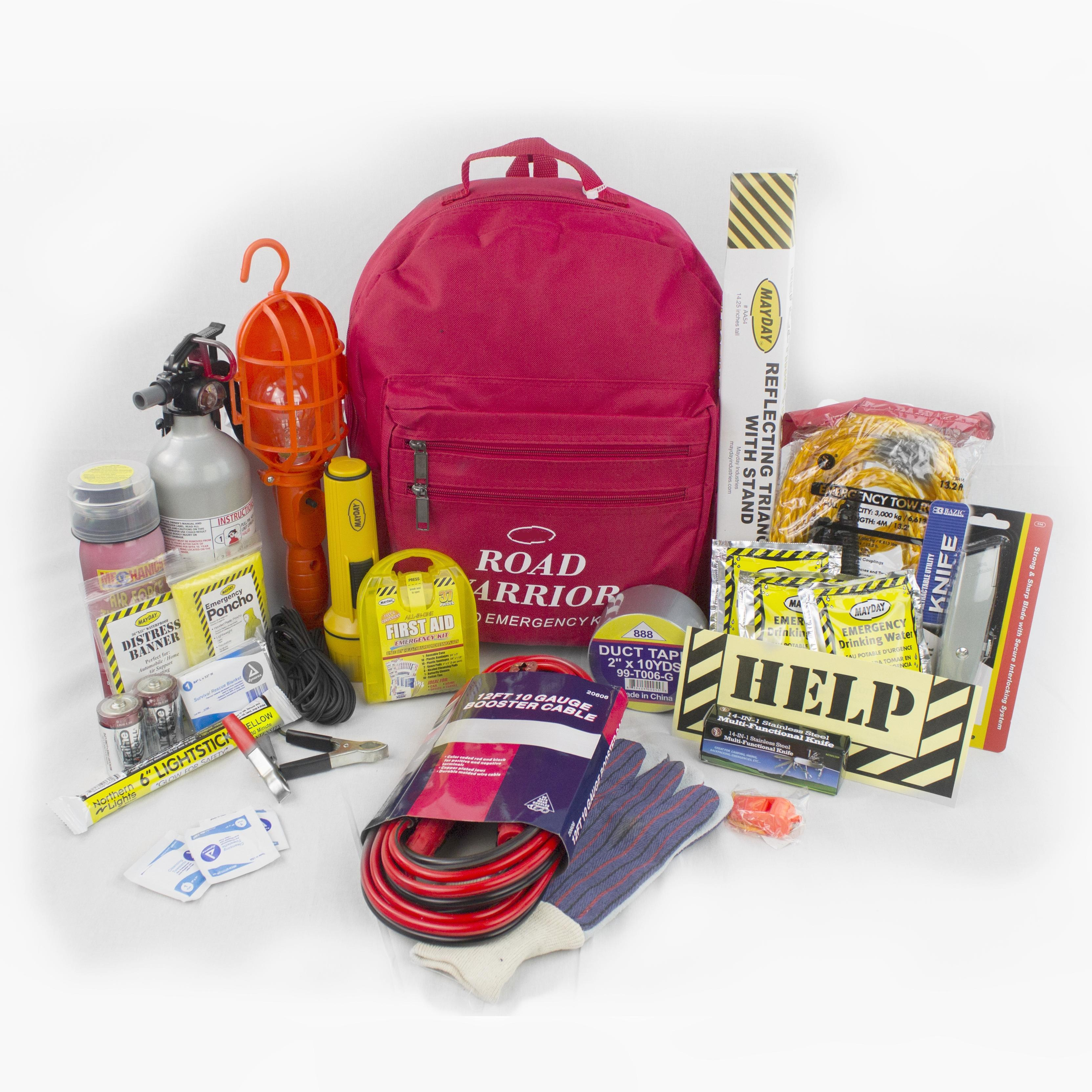 21 Piece Emergency Preparedness and Survival Kit for Cars Trucks and RVs (SOS-AA01-360)