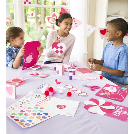 Crafty Creations Valentines Paper Arts & Crafts Kit for Kids, Over 177 Pieces