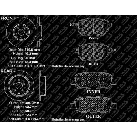 Max Brakes Front & Rear Performance Brake Kit [ Premium Slotted Drilled Rotors + Ceramic Pads ] KT032733   Fits: 2005 05 Infiniti FX45 Thru Oct 2005 - image 2 of 8