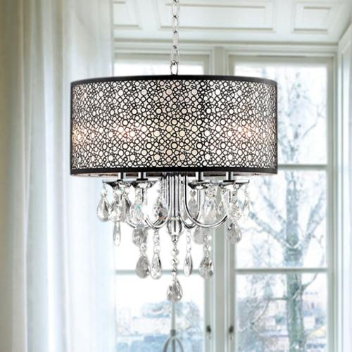 The Lighting Store Indoor 4-light Chrome/ Crystal/ Metal Bubble Shade Chandelier