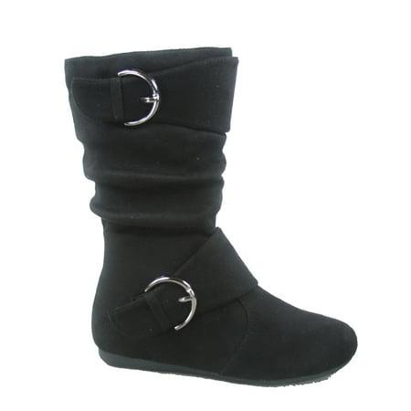 Klein-70 Girls Kid's Causal Flat Heel Buckles Zipper Slouchy Mid Calf Boots Shoes