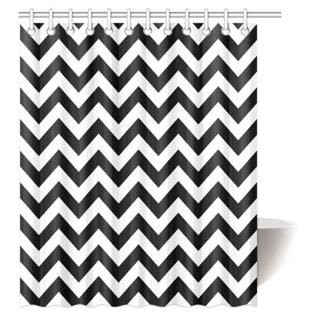 MYPOP Chevron Shower Curtain Zig Zag Pattern And Black White Classical Antique Artwork Fabric