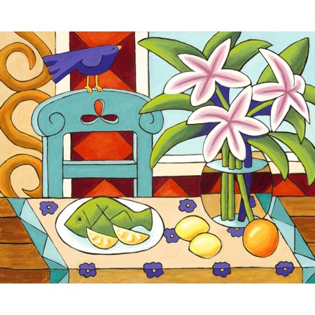 Lillies On The Watch Rolled Canvas Art   Nelson  32 X 40