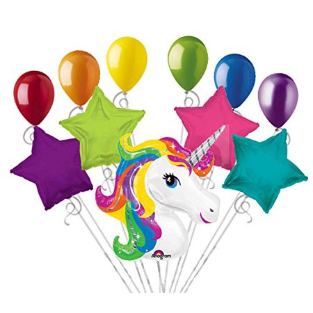 "Rainbow Balloons (11pc Bright Rainbow Unicorn Happy Birthday Balloon Bouquet, 1 – 33"" Rainbow Unicorn Head Shape Mylar Balloon. By Jeckaroonie)"
