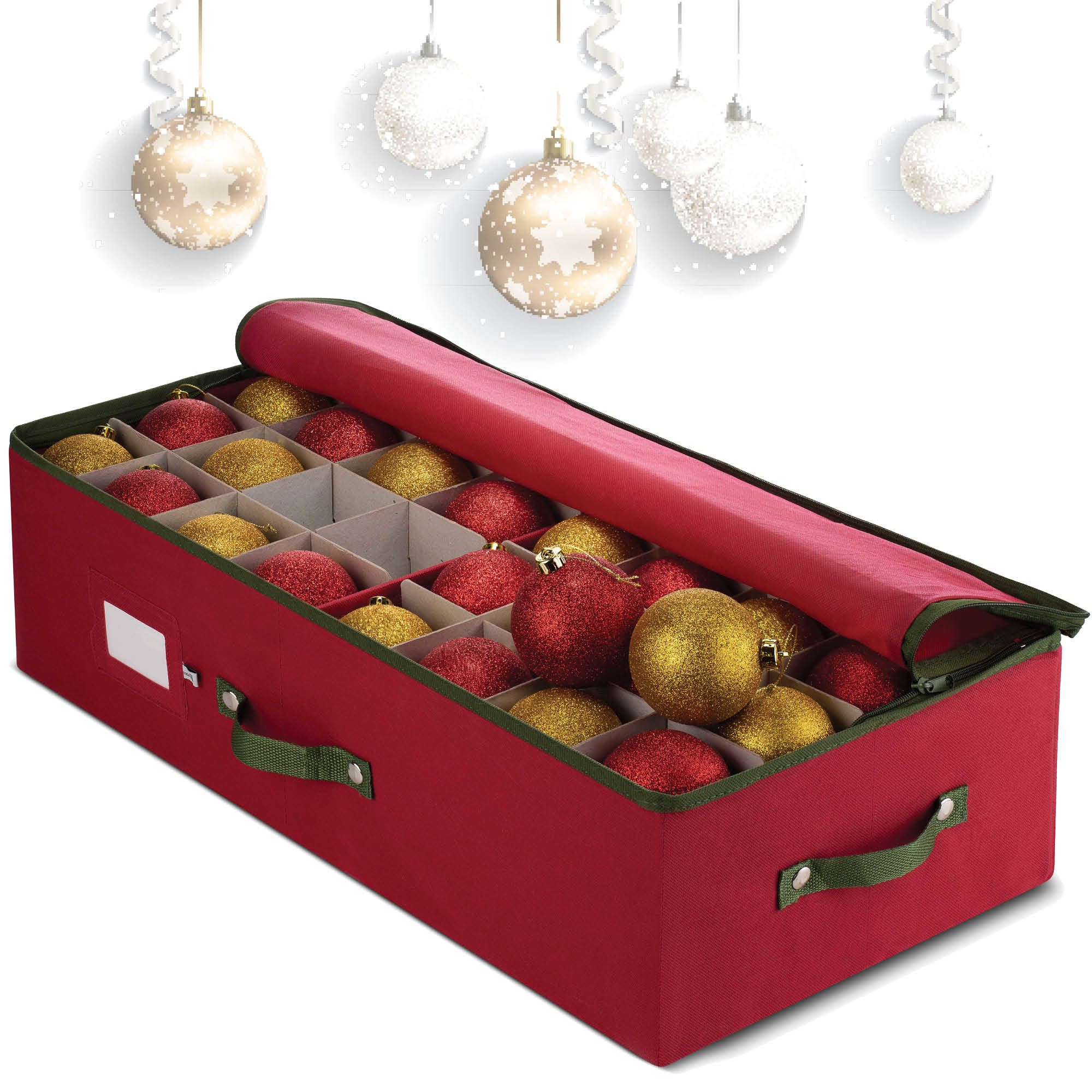 Christmas 64 Baubles Holder Storage Box for Christmas Decorations Bag with Carry Handles