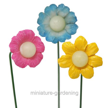 Miniature Petal Glow Flowers, 3 Piece Set for Miniature Garden, Fairy Garden (Fairy Ring Flowers)