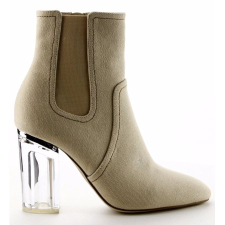 8e7714f87fe Fay-10 Elastic Ankle High Lucite Clear Block Chunky Heel Bootie Shoe ...