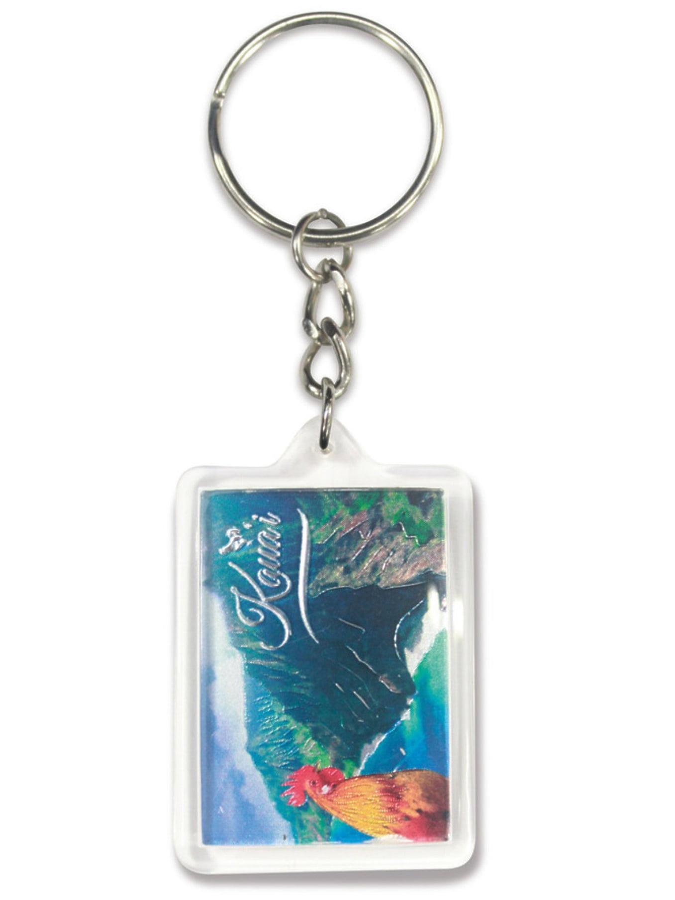 Hawaii Acrylic Foil Keychain Rooster's Kauai Na Pali Coast