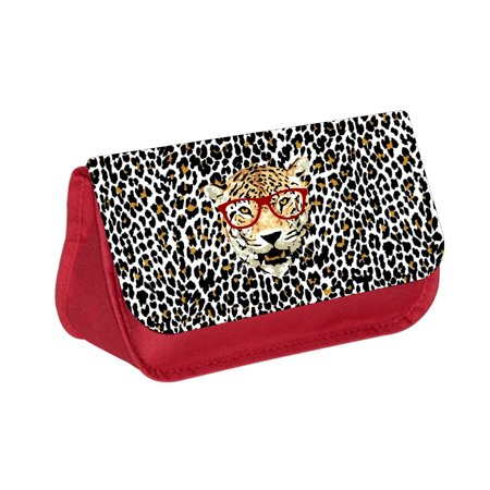Hipster Leopard in Red Glasses on Leopard Print -  Red Girls Pencil Case - Pencil Bag - with 2 Zippered Pockets